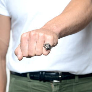 George Frost Bravery Lion Ring - White Bronze - Thumbnail