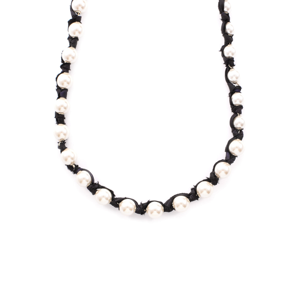 Lustre Black Silk Woven Messenger Necklace - Photo