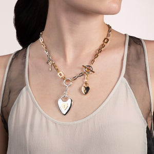Folly Heart & Key Midi Necklace