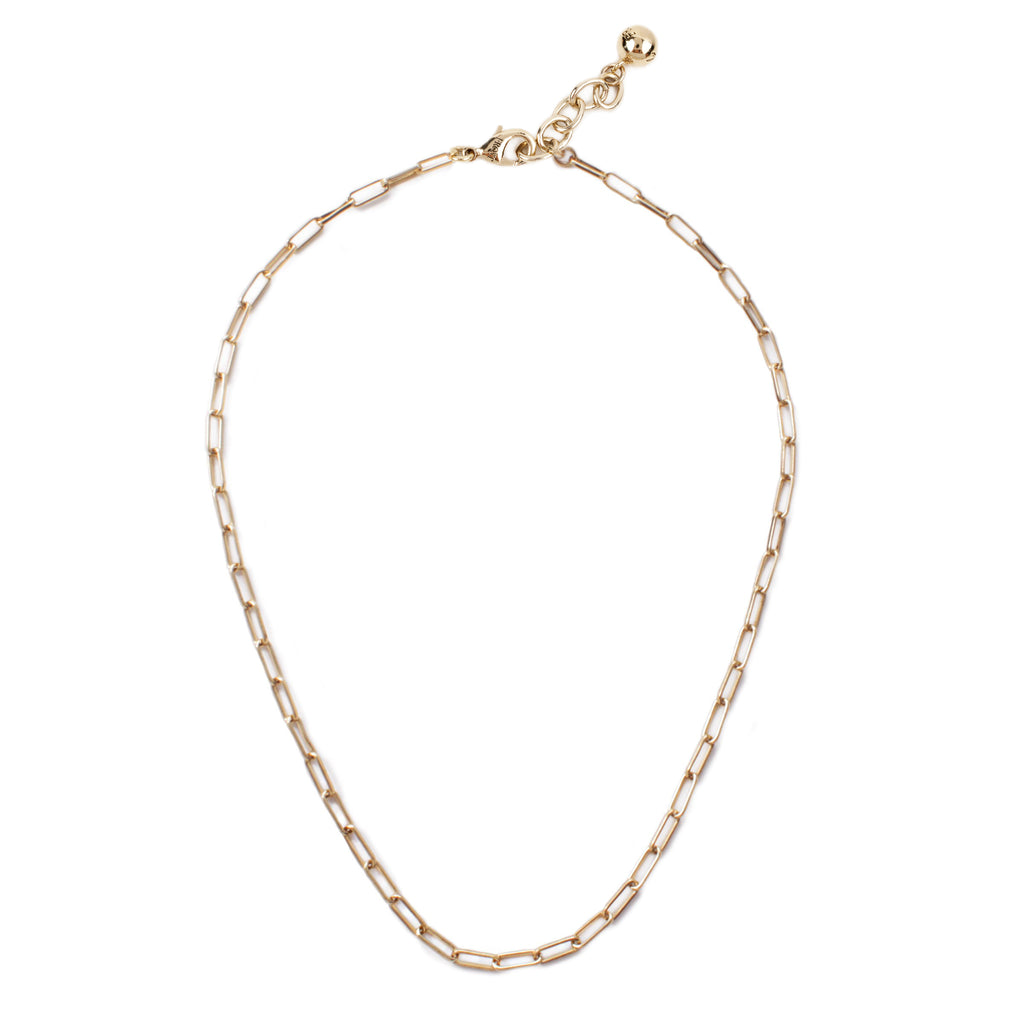 Plaza Rectangle Link Necklace Base - Gold