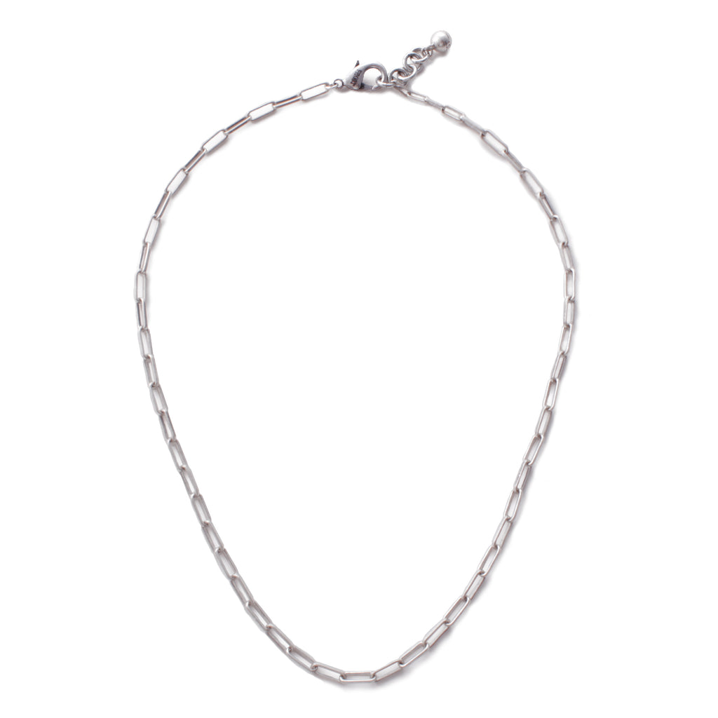 Plaza Rectangle Link Necklace Base - Silver