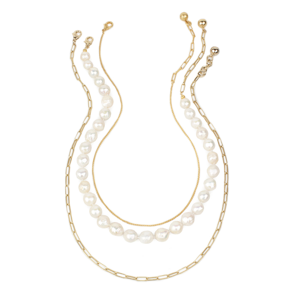 Lulu Starter Pack 5 - Plaza Rope Chain, Baroque Pearl and Rectangle Link Chain