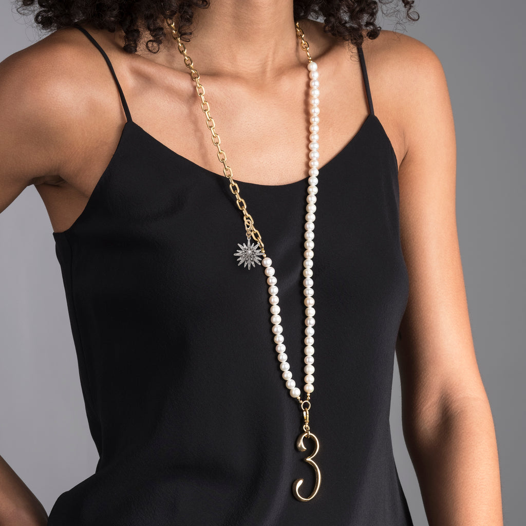 Plaza White Pearl Charm Necklace - Photo