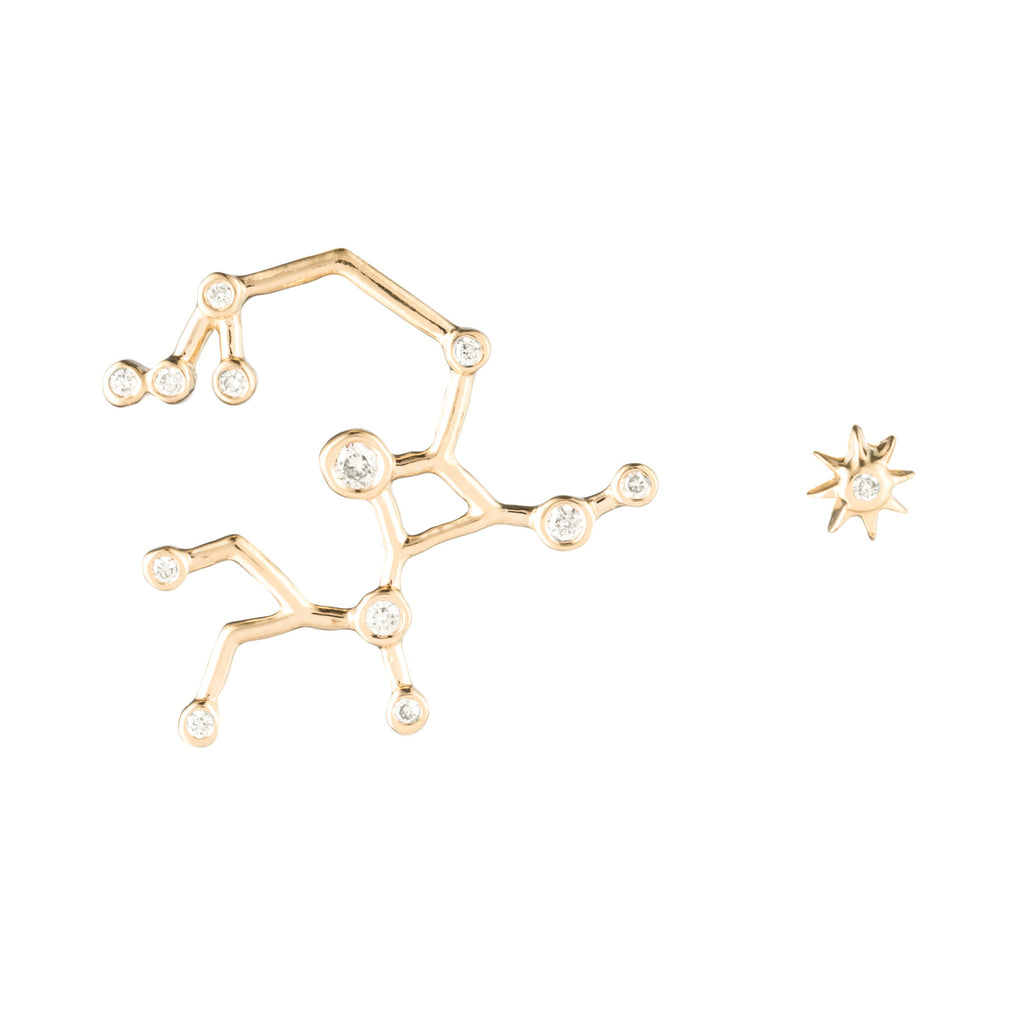 Zodiacs 14k & Diamond Sagittarius + Fire Stud Set