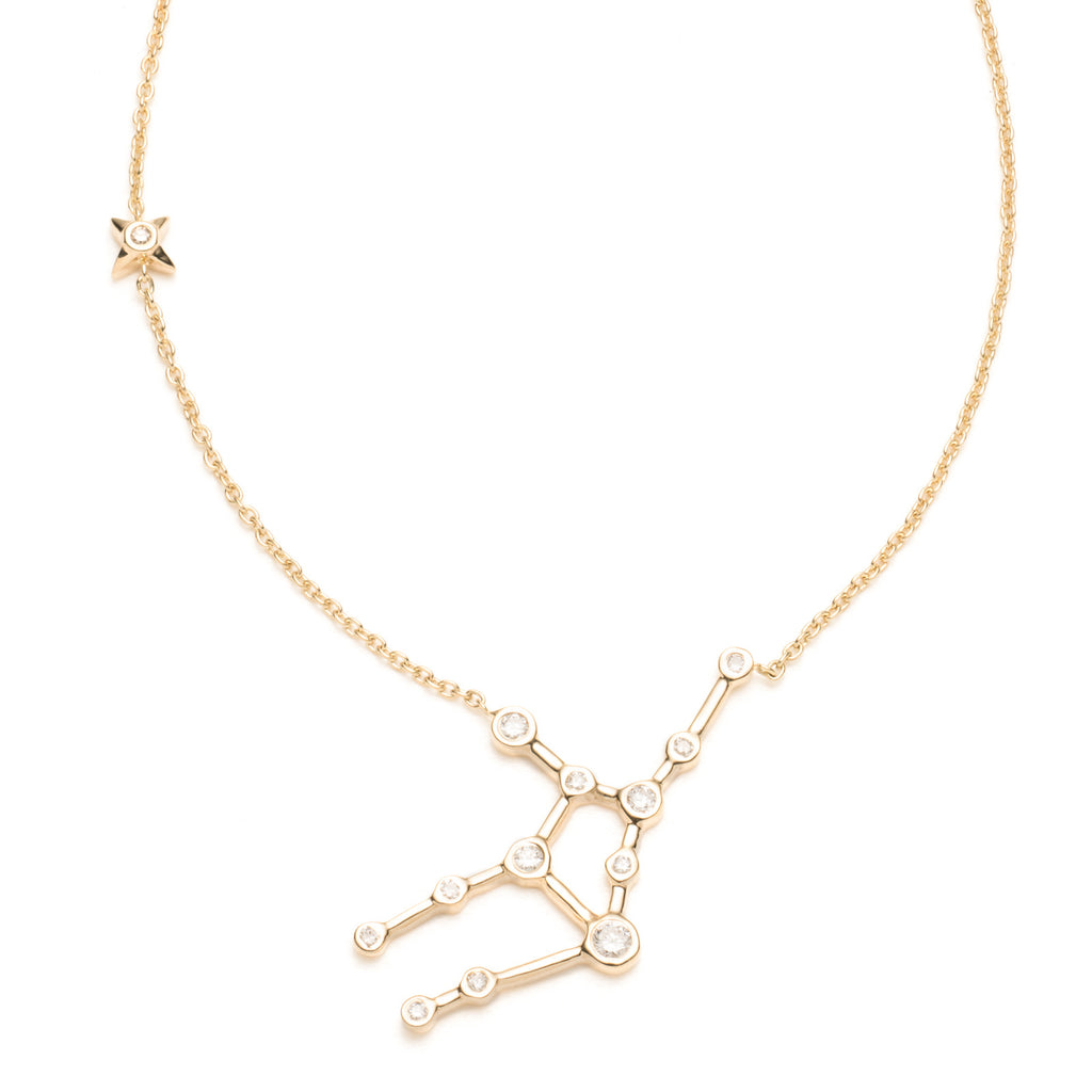 Zodiacs 14k & Diamond Virgo + Earth Necklace