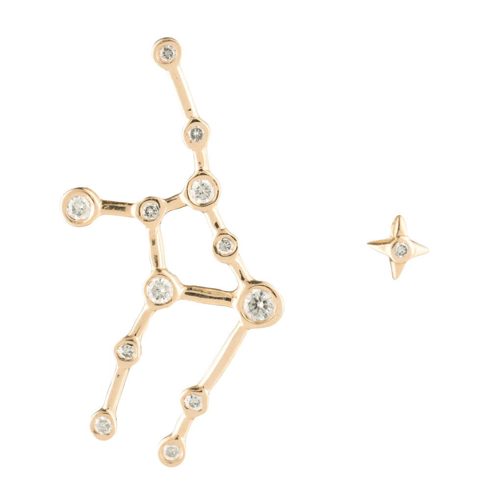 Zodiacs 14K & Diamond Virgo + Earth Stud Set