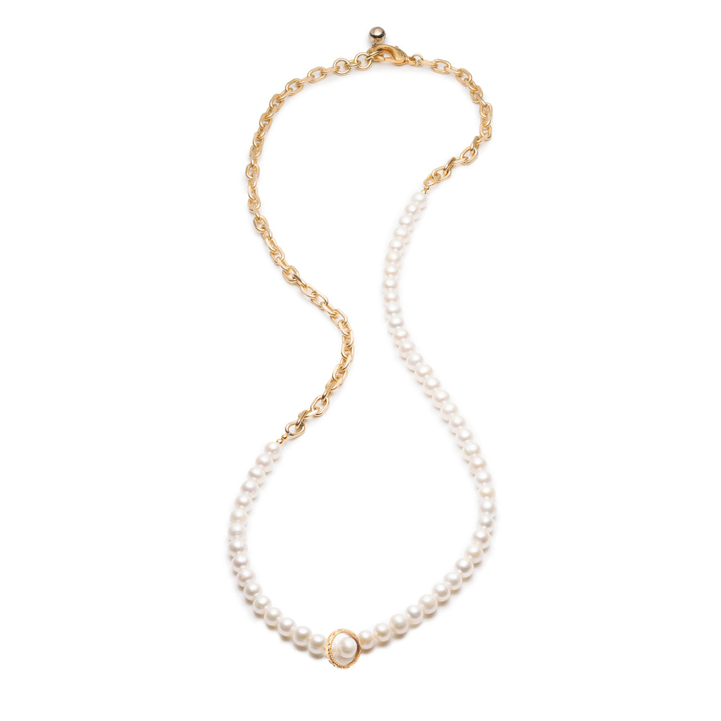 Plaza White Pearl Chain Necklace Base