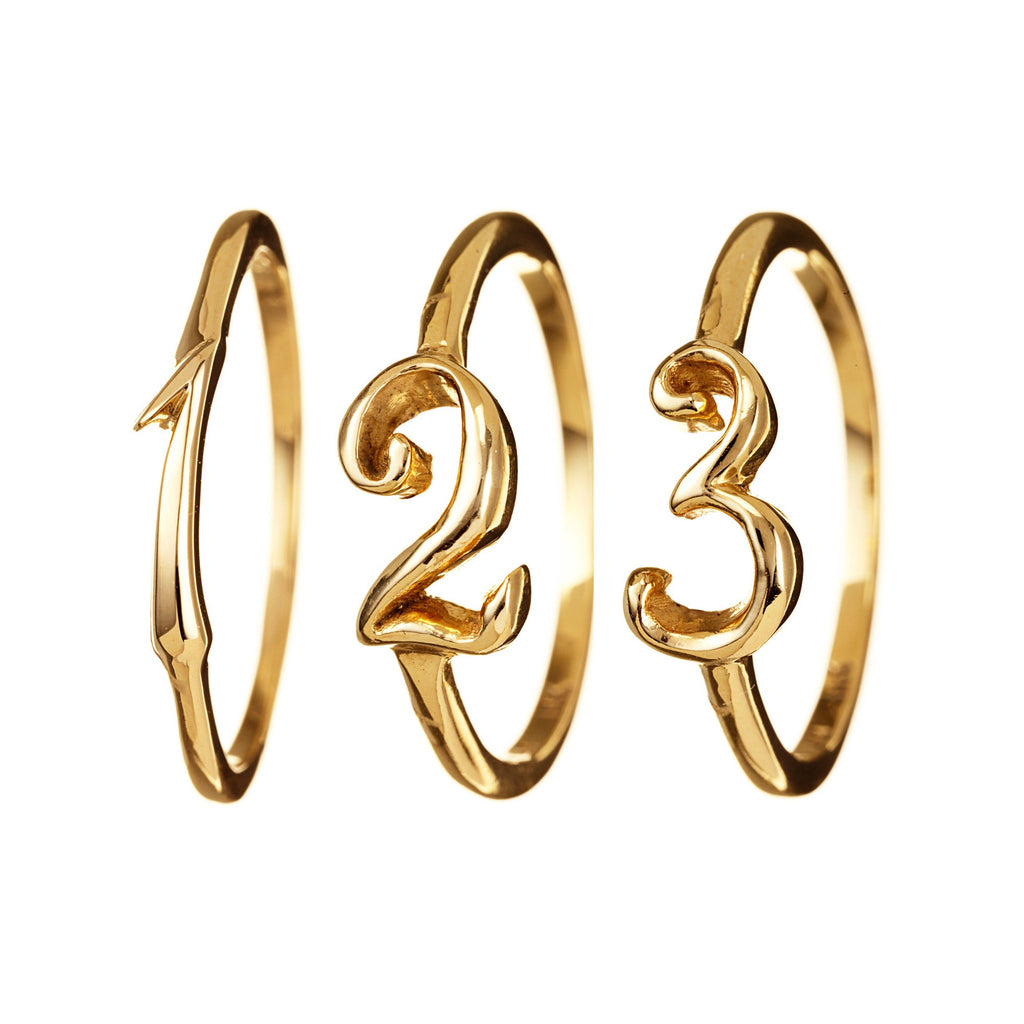 Code Number Ring Yellow Gold 14K Gold