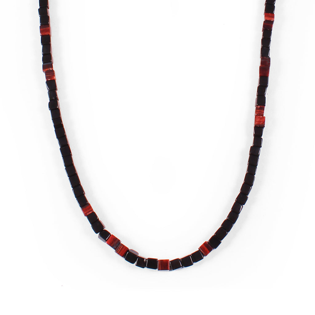 George Frost Morse Code Onyx & Tiger's Eye Necklace - Valor - Photo
