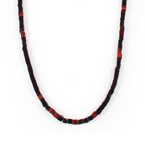George Frost Morse Code Onyx & Tiger's Eye Necklace - Valor - Thumbnail