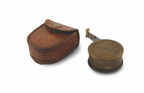 Vintage Tape Measure in Leather Pouch