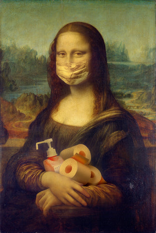 Mona Lisa in a Face mask holding toilet roll
