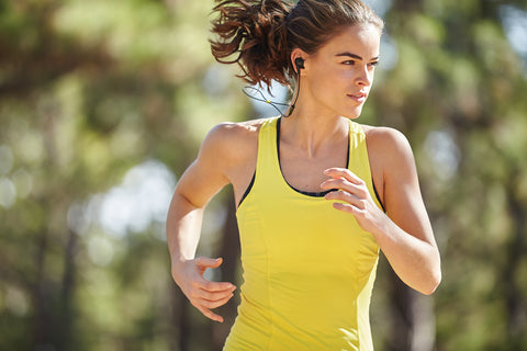 Woman running sweating