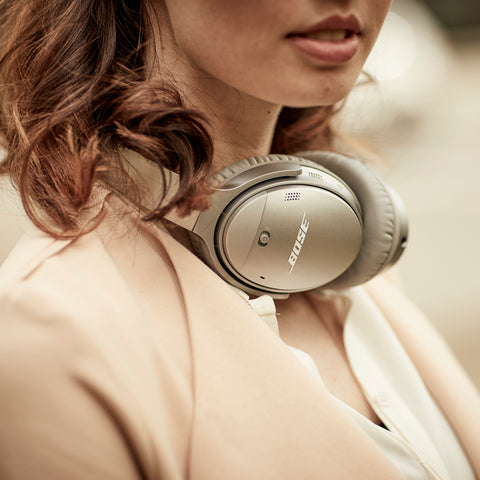 Bose QuietComfort 35 headphones on woman