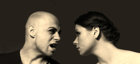 Man Shouting at Unimpressed Woman Sepia