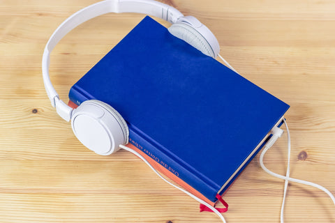 Headphones on a Book