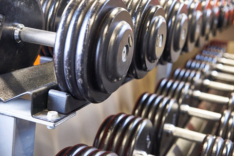 Gym Dumbells on Rack