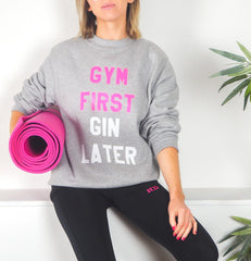 Gym Now Gin Later Grey Jumper