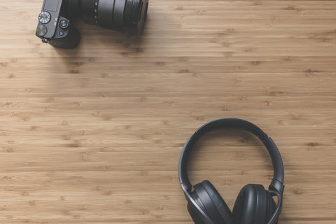 Over-Ear Headphones on wooden table
