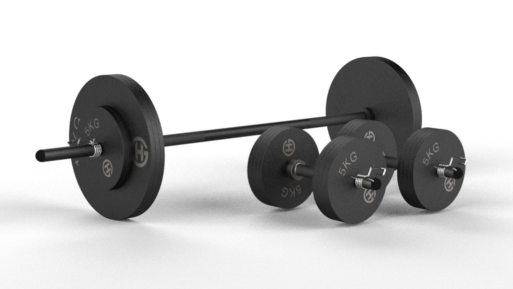 Adjustable Free-Weight Barbell Sets (5ft) - Matte Black