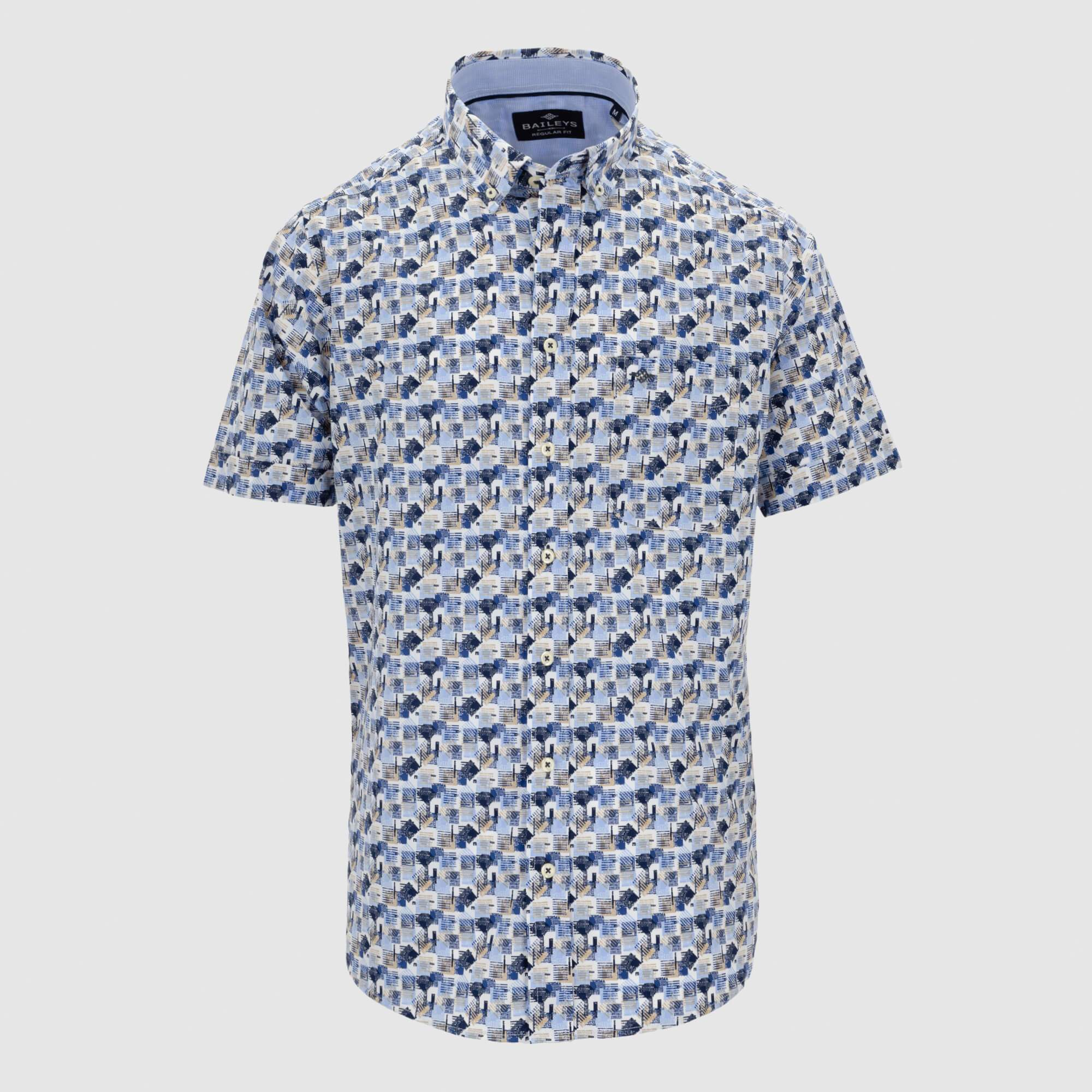 Camisa estampada manga corta regular fit 106696