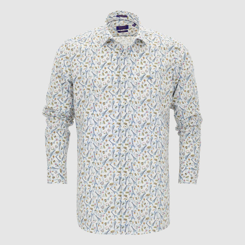 Camisa estampada diseño slim Fit 107842