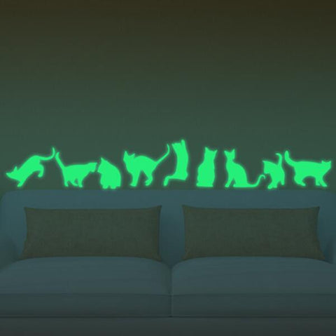 glow-in-the-dark cat wall stickers (9 piece set) – the cat haus
