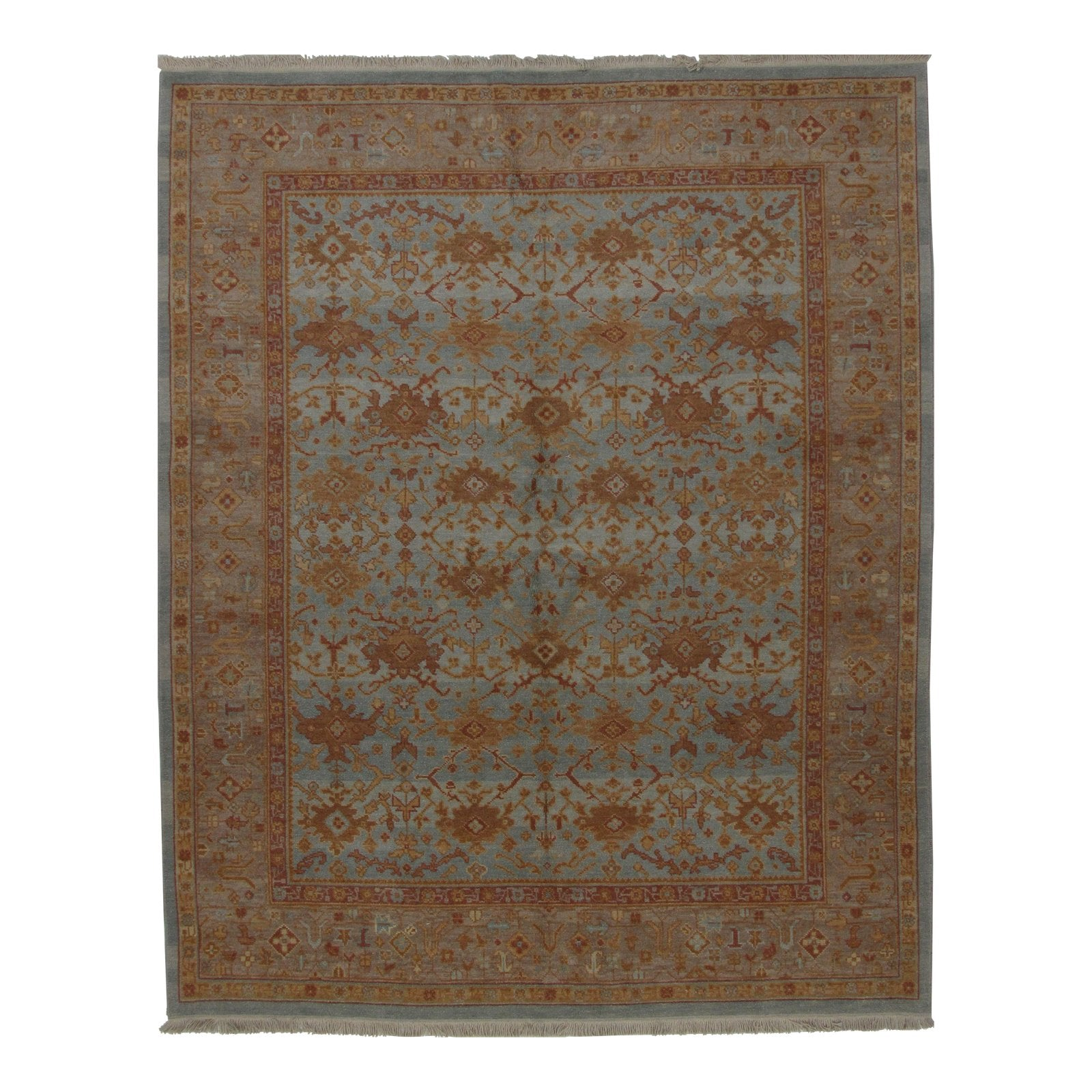 Turkish Oushak Design Hand Woven Wool Rug - 8' X 10'