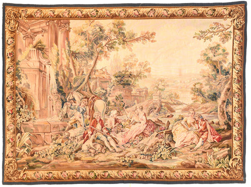 Antique Beige Aubusson-Beauvais Pictorial French Tapestry Area Rug