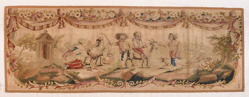 Antique Pastel Aubusson Pictorial French Tapestry Area Rug