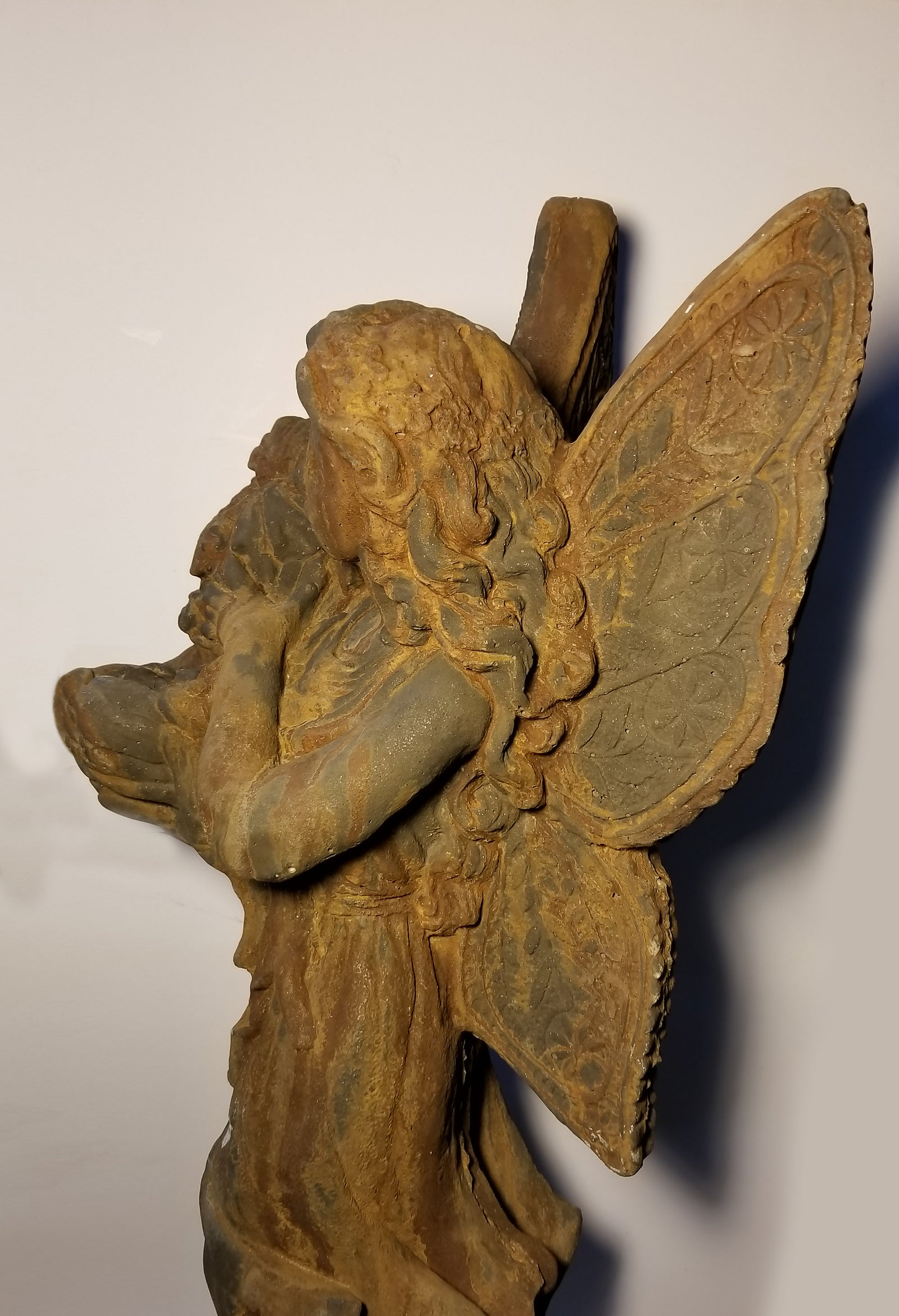 Heavy Cast Iron Angel In Garden