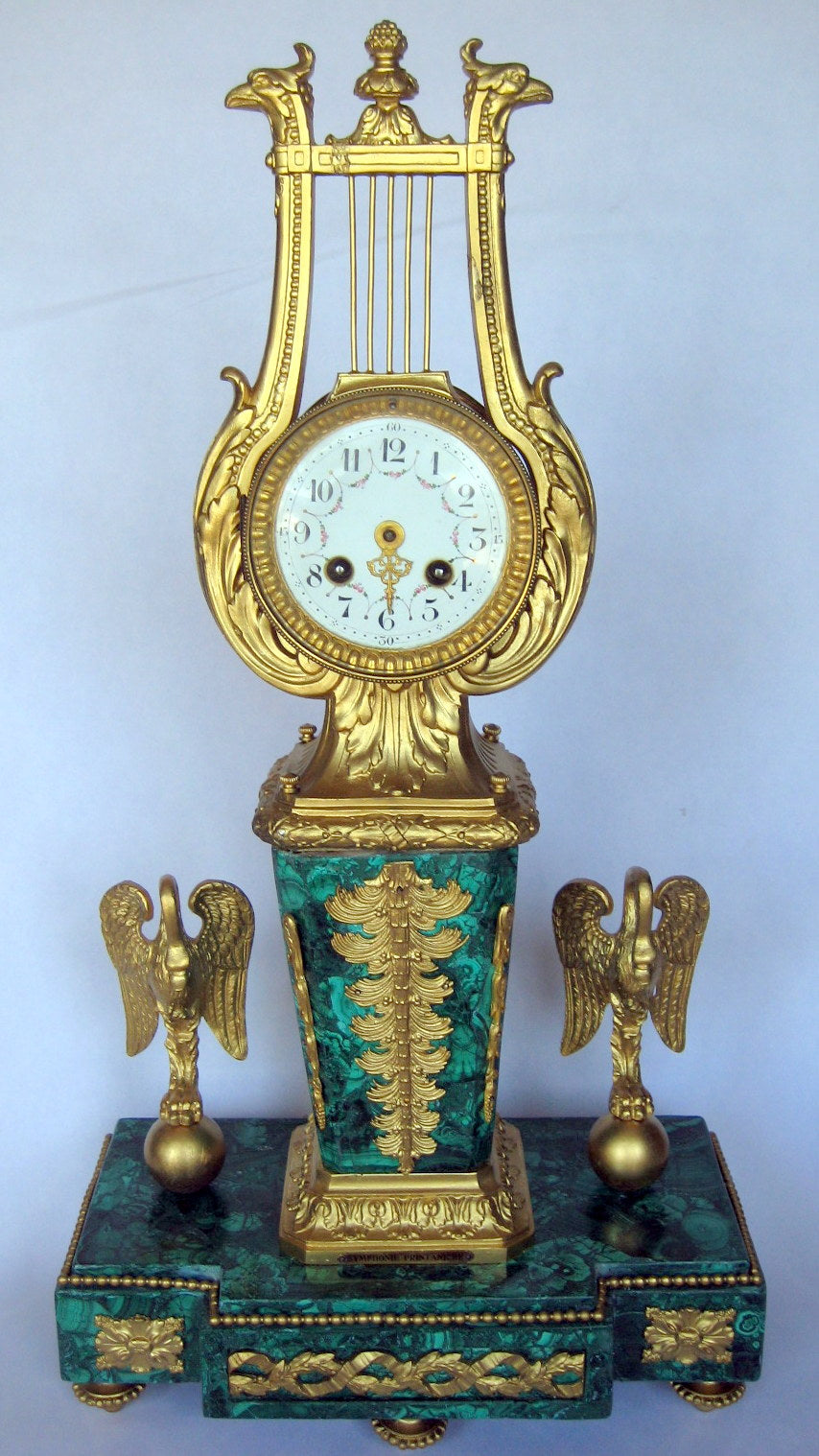 Malachite Late French Bronze Mantle Clock, 19th Century