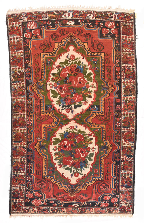 Antique Rust Bakhtiari Persian Area Rug