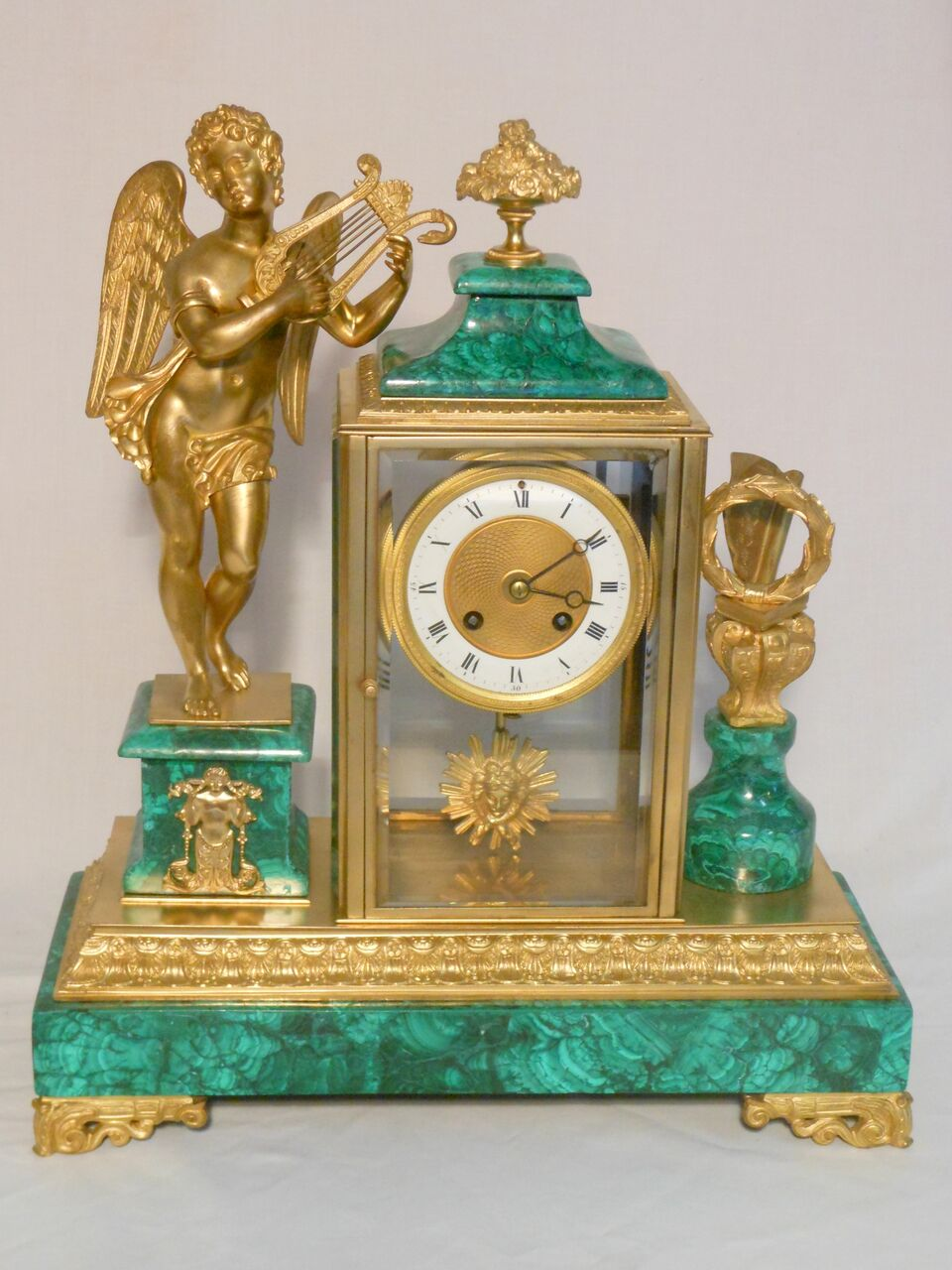 Malachite Clock With Angel