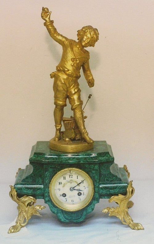 Malachite Clock Stand With Boy