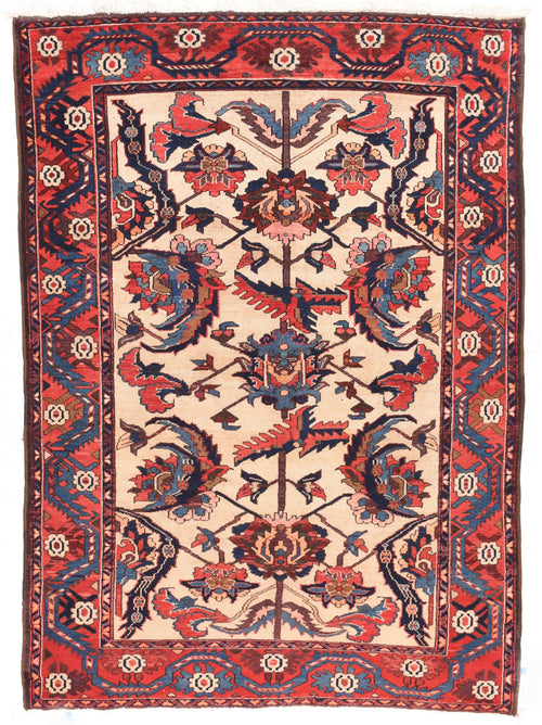 Antique Red Bakhtiari Persian Area Rug