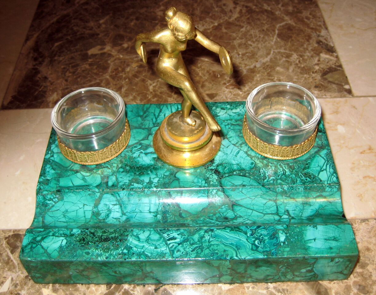 Malachite Ink and Pen Holder With a Dancing Woman