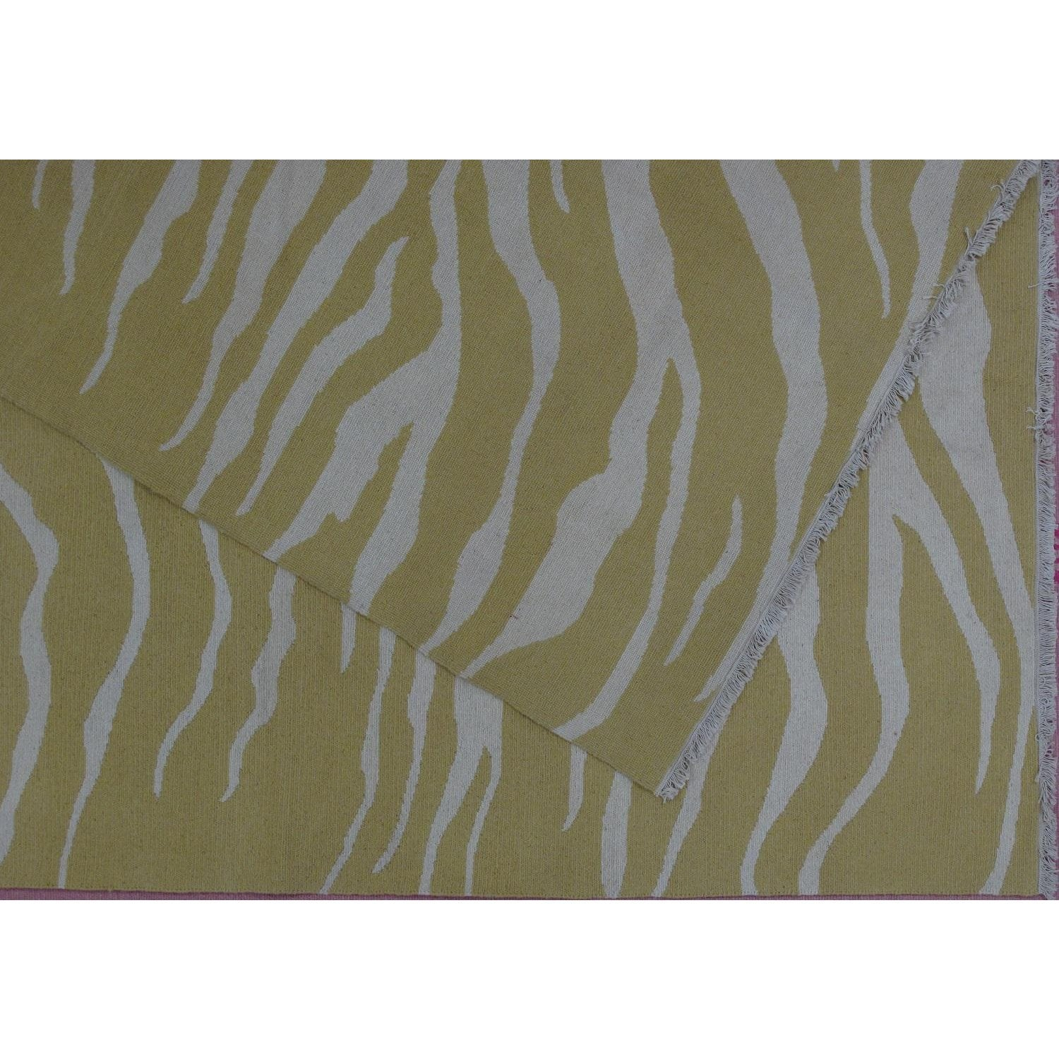 Tiger Stripe Soumak Design Hand Woven Wool Rug - 9' X 12'