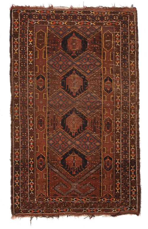 Antique Light Brown Persian Balouch Area Rug