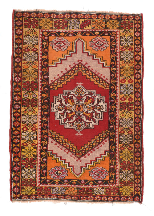 Semi Antique Red Turkish Tribal Area Rug
