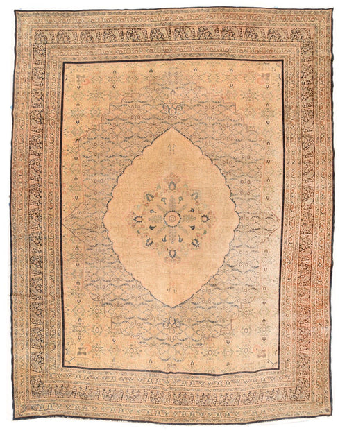 "Antique Hand Knotted Persian Tabriz, Size 11'1"" X 13'10"""