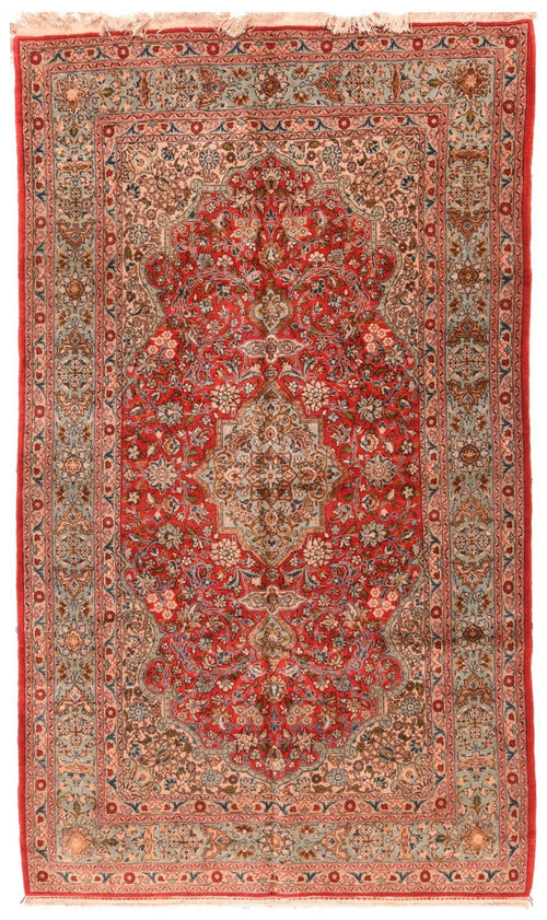 "Antique Hand Knotted Persian Qum, Size 5'3"" X 9'6"""