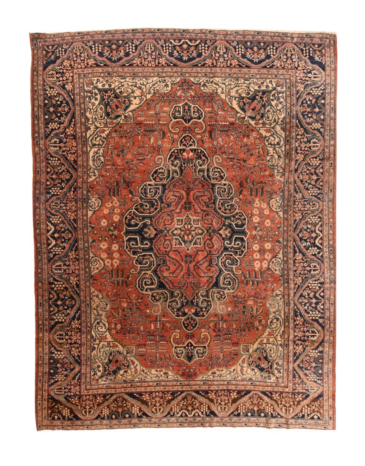 "Extremly Fine Antique Persian Farahan, Size 8'6"" X 11'0"""