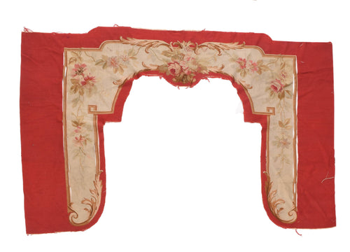 Antique Red Aubusson Door Hanging Area Rug