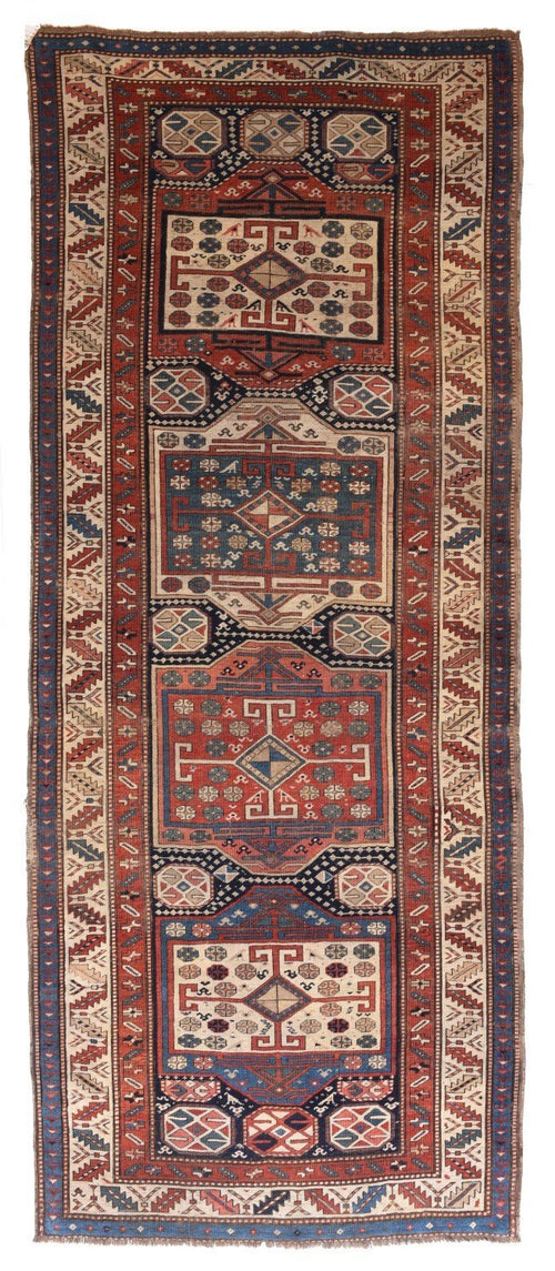 Antique Hand Made Caucasian Russain Rug