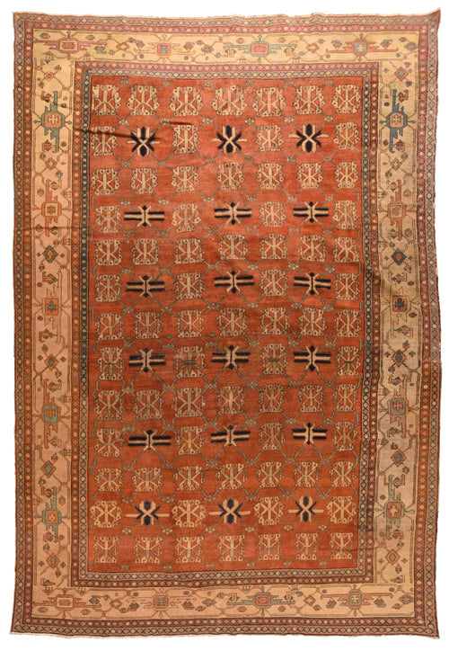 Antique Peach Bakhshaish Persian Area Rug