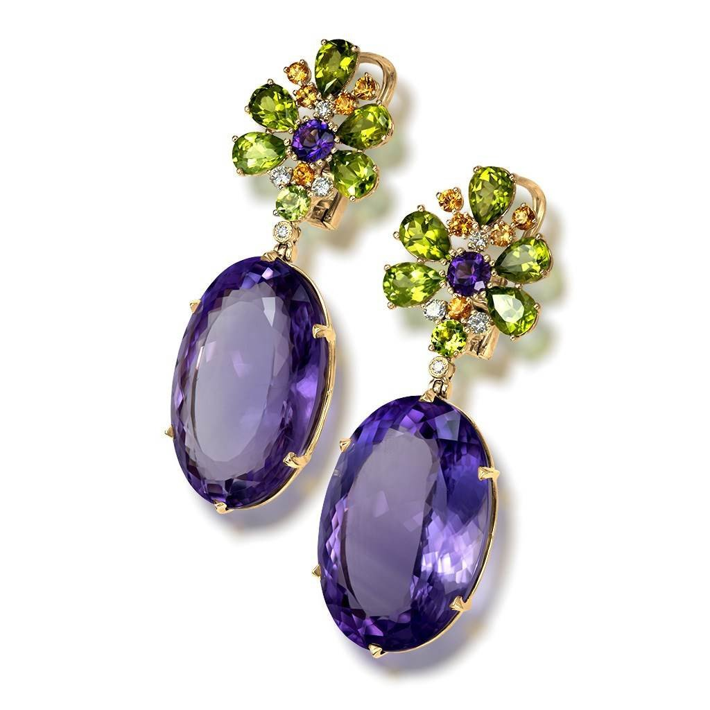 Amethyst, Peridot, Garnet and Diamond Blossom Drop Earrings in Yellow Gold