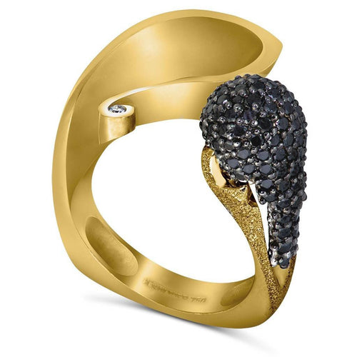 Black Diamonds and Yellow Gold Calla Ring