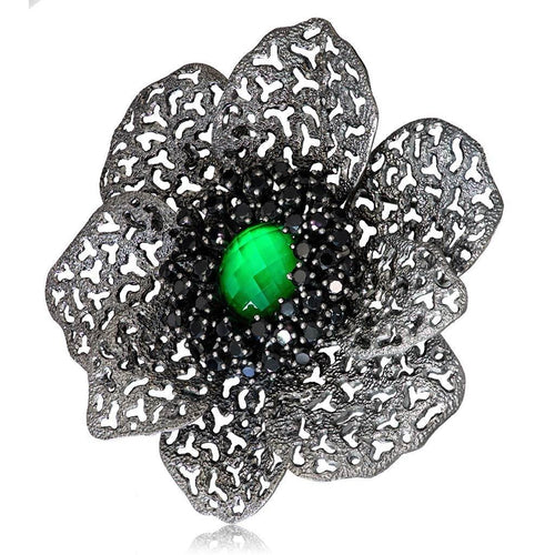 Green Agate, White Quartz Doublet with Black Spinel Coronaria Brooch Pendant in Blackened Silver