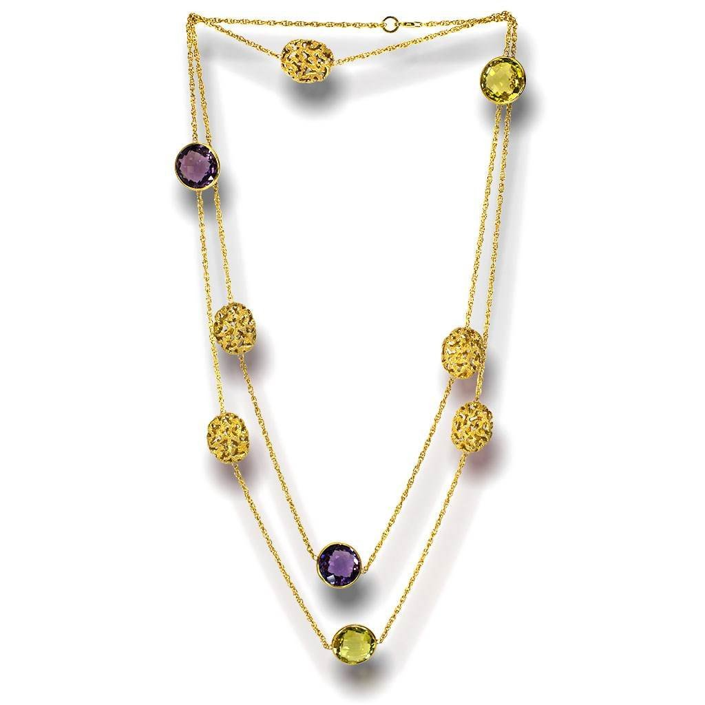 Lemon Citrine and Amethyst Moneta Necklace in 14 Karat Yellow Gold